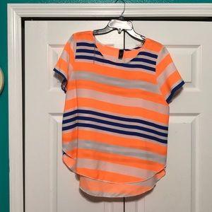 Tops - High low orange & royal blue top
